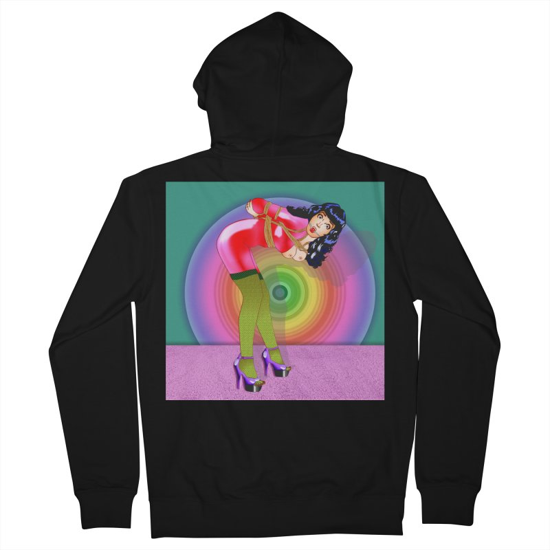 Bettie Page All Tied Up Pinup Men's Zip-Up Hoody by InspiredPsychedelics's Artist Shop