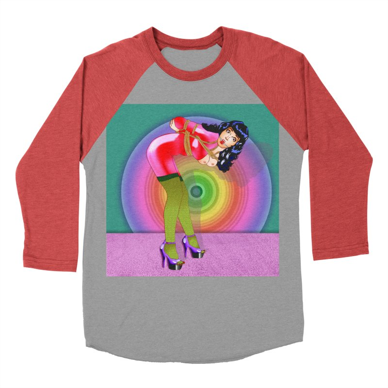 Bettie Page All Tied Up Pinup Women's Baseball Triblend Longsleeve T-Shirt by InspiredPsychedelics's Artist Shop