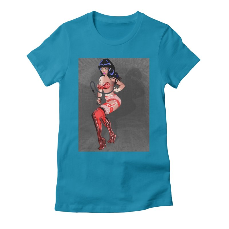 Bettie Page Pinup with Whip and Red Latex Boots Women's Fitted T-Shirt by InspiredPsychedelics's Artist Shop