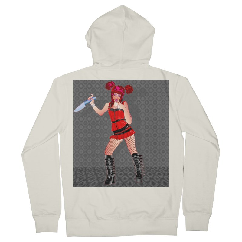 Ann Colter: Punk Girl Pinup with a Colter Knife Women's Zip-Up Hoody by InspiredPsychedelics's Artist Shop