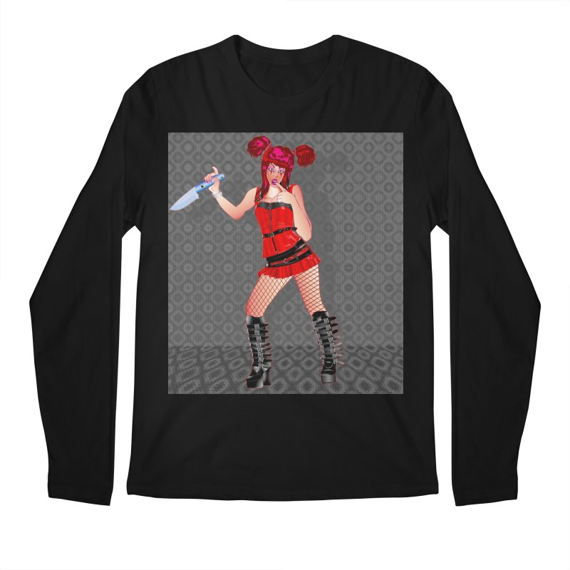 Ann Colter: Punk Girl Pinup with a Colter Knife Men's Regular Longsleeve T-Shirt by InspiredPsychedelics's Artist Shop