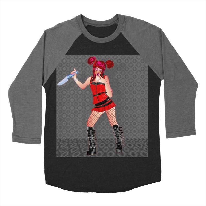 Ann Colter: Punk Girl Pinup with a Colter Knife Women's Baseball Triblend Longsleeve T-Shirt by InspiredPsychedelics's Artist Shop