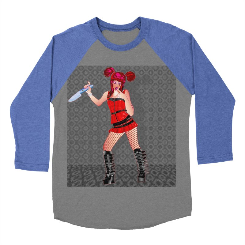 Ann Colter: Punk Girl Pinup with a Colter Knife Men's Baseball Triblend Longsleeve T-Shirt by InspiredPsychedelics's Artist Shop
