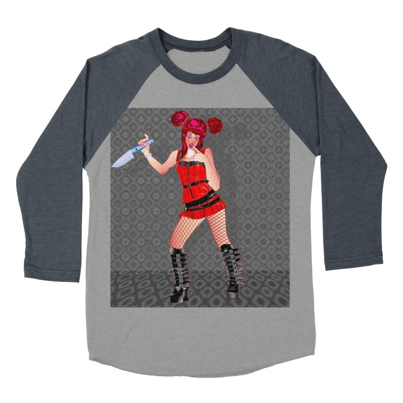 Ann Colter: Punk Girl Pinup with a Colter Knife Men's Baseball Triblend T-Shirt by InspiredPsychedelics's Artist Shop
