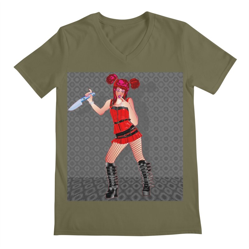 Ann Colter: Punk Girl Pinup with a Colter Knife Men's Regular V-Neck by InspiredPsychedelics's Artist Shop