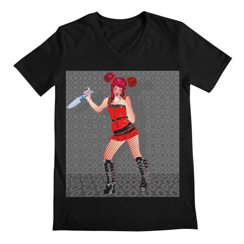 Ann Colter: Punk Girl Pinup with a Colter Knife Men's V-Neck by InspiredPsychedelics's Artist Shop