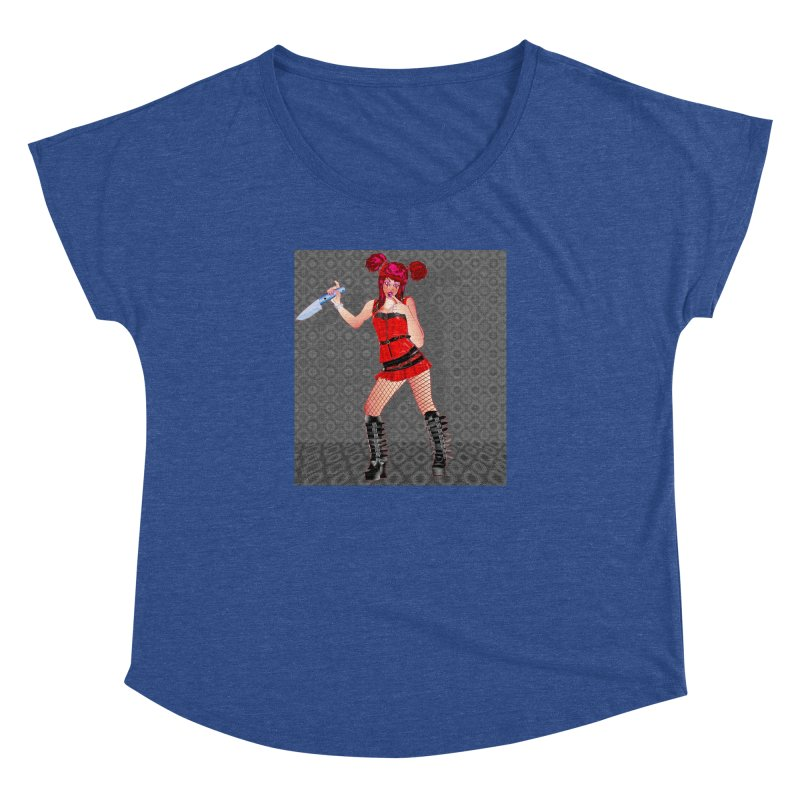 Ann Colter: Punk Girl Pinup with a Colter Knife Women's Dolman Scoop Neck by InspiredPsychedelics's Artist Shop