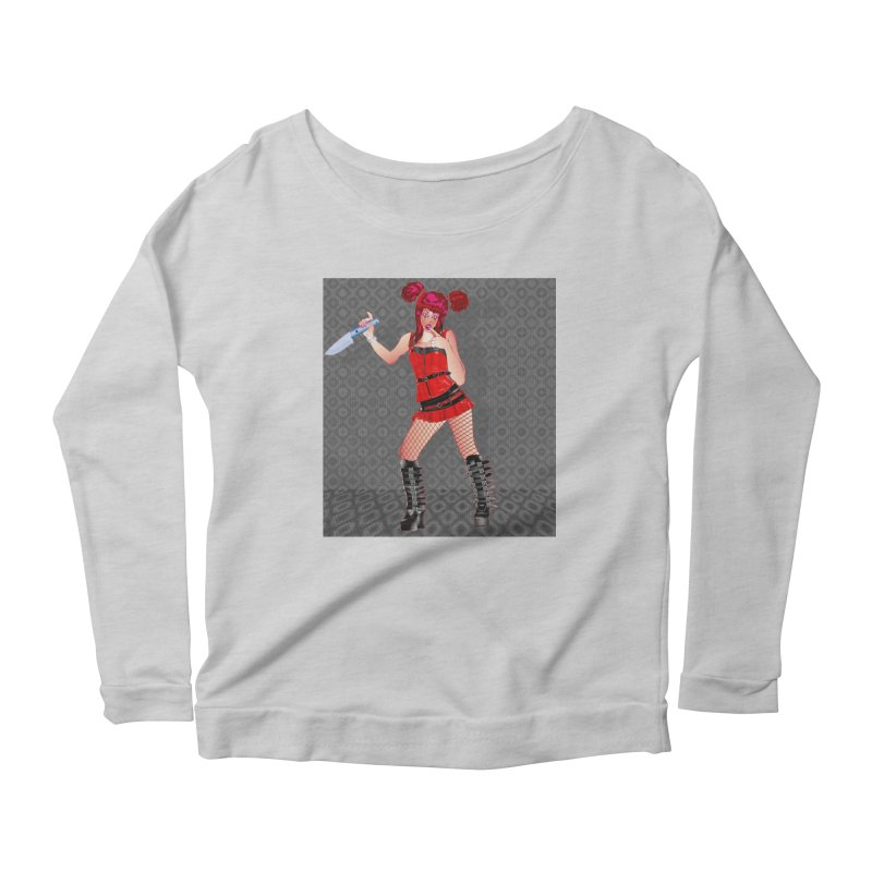 Ann Colter: Punk Girl Pinup with a Colter Knife Women's Scoop Neck Longsleeve T-Shirt by InspiredPsychedelics's Artist Shop