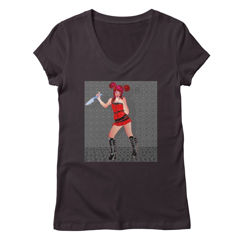 Ann Colter: Punk Girl Pinup with a Colter Knife Women's V-Neck by InspiredPsychedelics's Artist Shop
