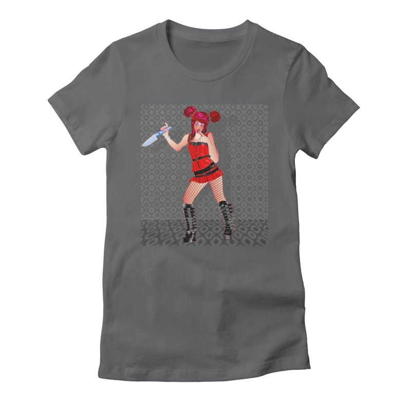 Ann Colter: Punk Girl Pinup with a Colter Knife Women's Fitted T-Shirt by InspiredPsychedelics's Artist Shop