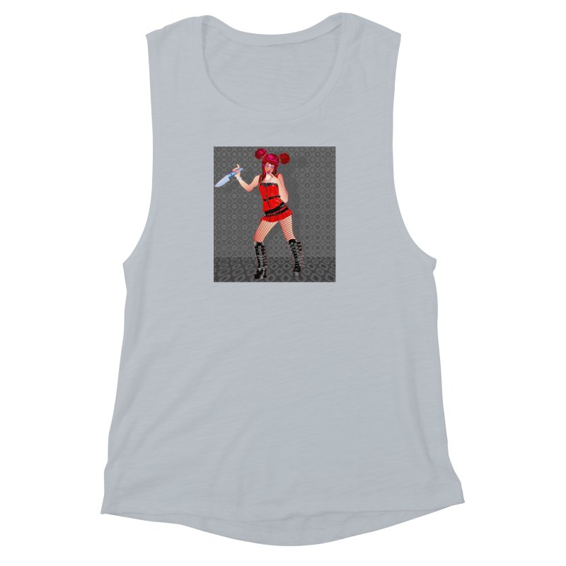 Ann Colter: Punk Girl Pinup with a Colter Knife Women's Muscle Tank by InspiredPsychedelics's Artist Shop