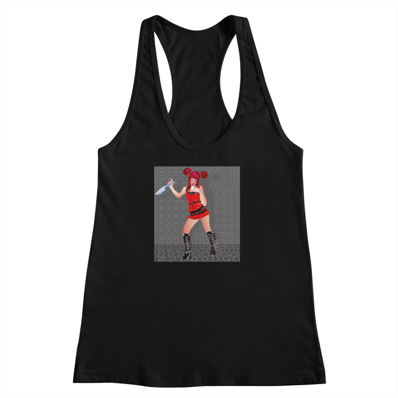 Ann Colter: Punk Girl Pinup with a Colter Knife Women's Racerback Tank by InspiredPsychedelics's Artist Shop