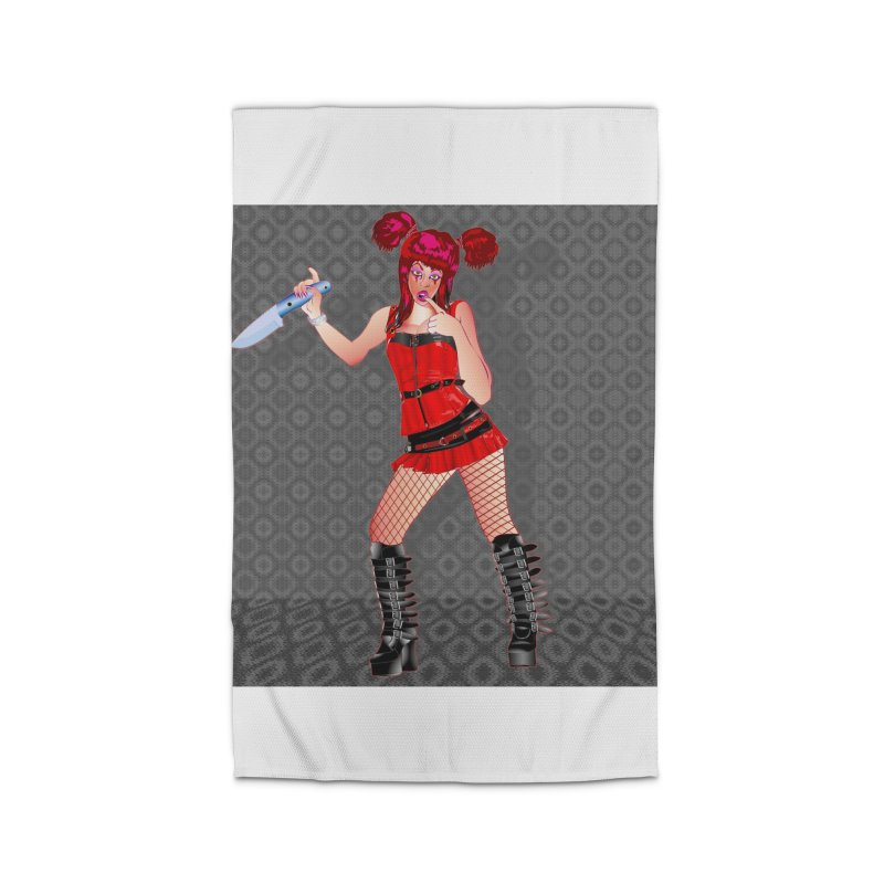 Ann Colter: Punk Girl Pinup with a Colter Knife Home Rug by InspiredPsychedelics's Artist Shop