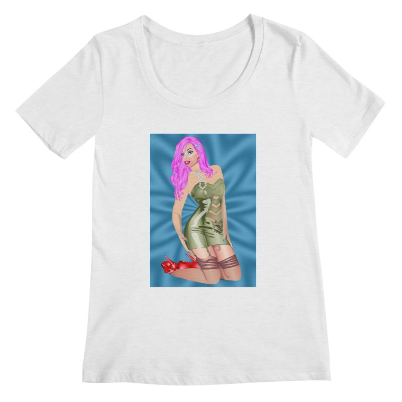 Pinup Girl in Green Latex Dress with Pink Hair Women's Scoopneck by InspiredPsychedelics's Artist Shop