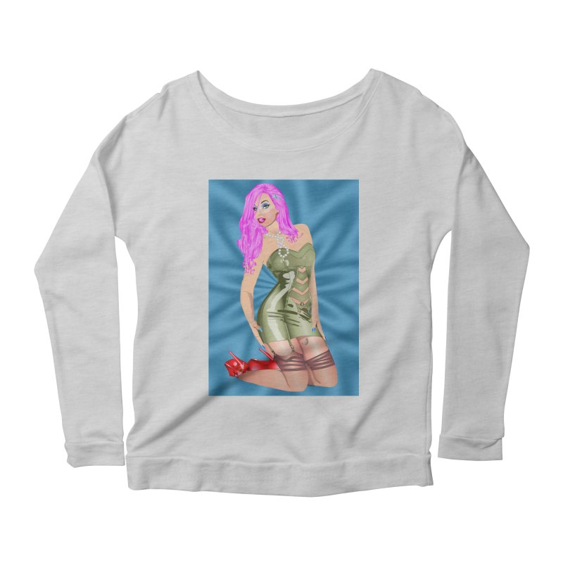 Pinup Girl in Green Latex Dress with Pink Hair Women's Scoop Neck Longsleeve T-Shirt by InspiredPsychedelics's Artist Shop