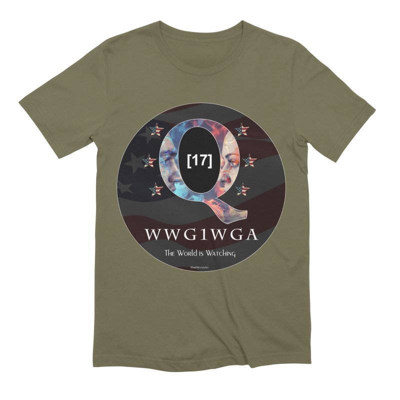 Q-Anon WWG1WGA The World is Watching Men's Extra Soft T-Shirt by InspiredPsychedelics's Artist Shop