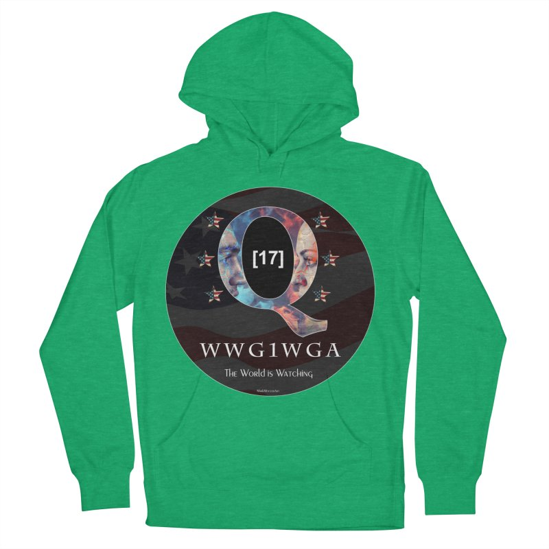 Q-Anon WWG1WGA The World is Watching Men's French Terry Pullover Hoody by InspiredPsychedelics's Artist Shop