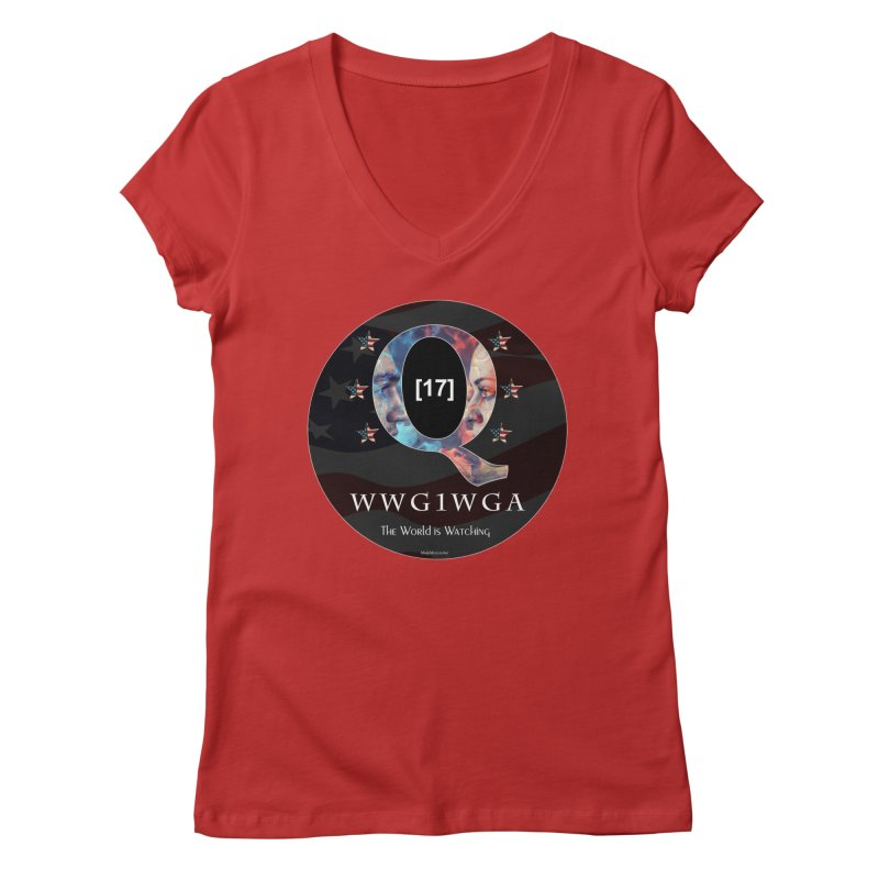 Q-Anon WWG1WGA The World is Watching Women's Regular V-Neck by InspiredPsychedelics's Artist Shop