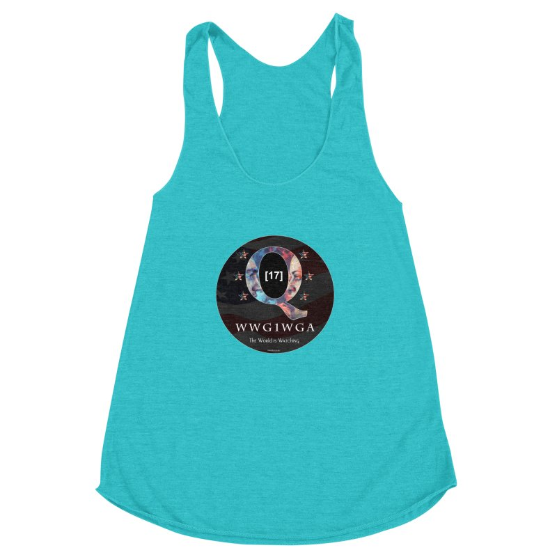 Q-Anon WWG1WGA The World is Watching Women's Racerback Triblend Tank by InspiredPsychedelics's Artist Shop