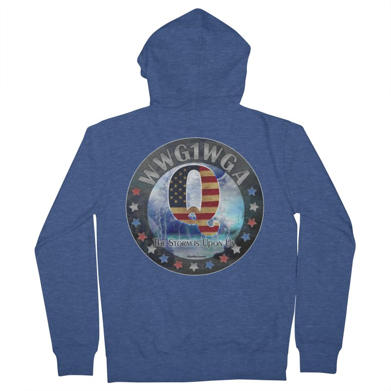 Q-Anon: The Storm is Upon Us Men's French Terry Zip-Up Hoody by InspiredPsychedelics's Artist Shop