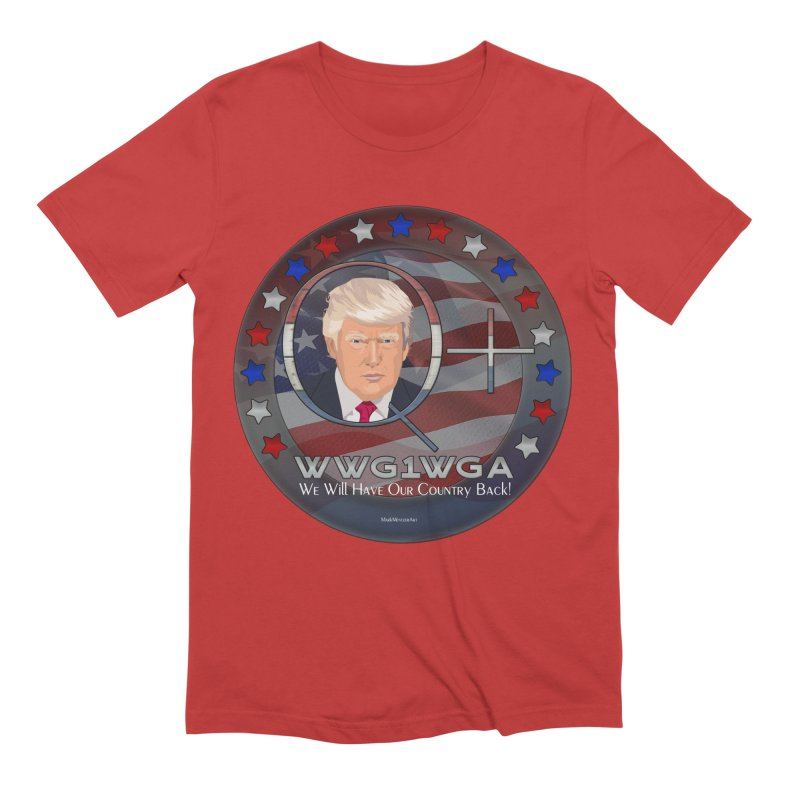 Q+ - We Will Have Our Country Back - WWG1WGA Men's Extra Soft T-Shirt by InspiredPsychedelics's Artist Shop