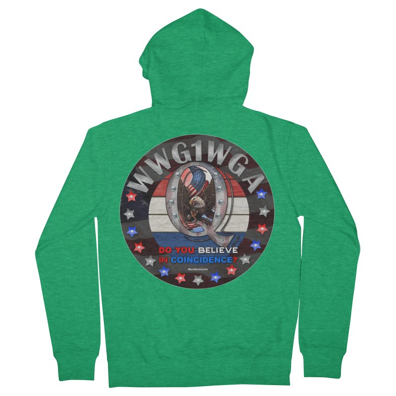 Q-Anon - Do You Believe in Coincidence? - WWG1WGA Men's French Terry Zip-Up Hoody by InspiredPsychedelics's Artist Shop