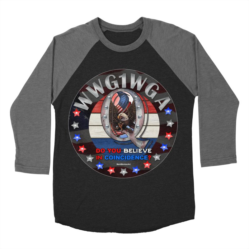 Q-Anon - Do You Believe in Coincidence? - WWG1WGA Men's Baseball Triblend Longsleeve T-Shirt by InspiredPsychedelics's Artist Shop