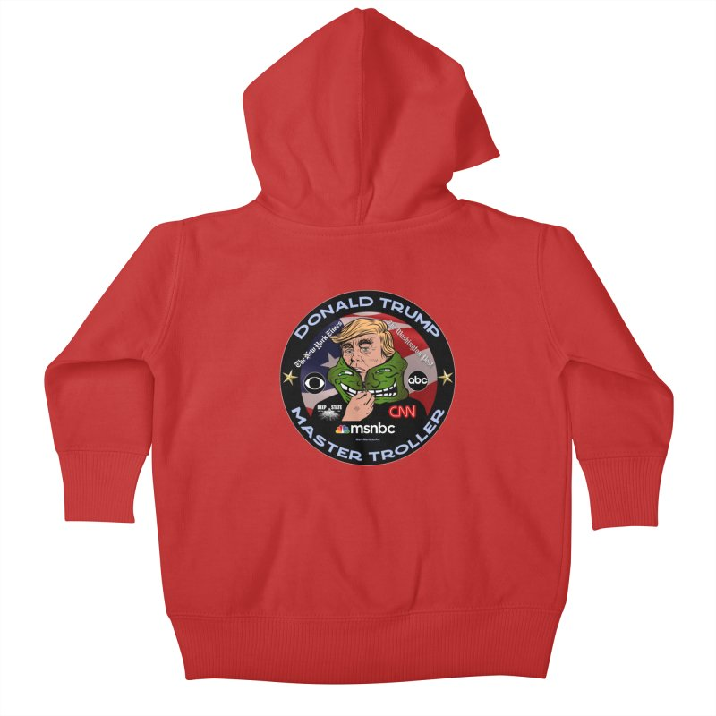 Donald Trump - Master Troller - Battling Fake News Kids Baby Zip-Up Hoody by InspiredPsychedelics's Artist Shop