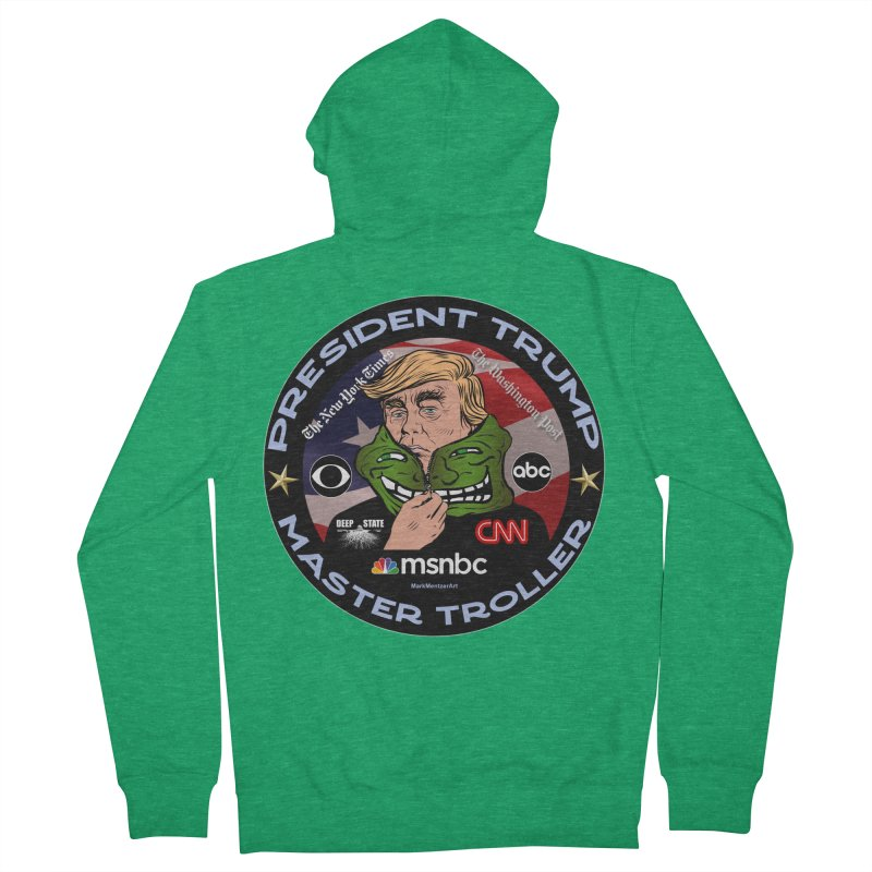 Donald Trump - Master Troller - Battling Fake News Men's French Terry Zip-Up Hoody by InspiredPsychedelics's Artist Shop