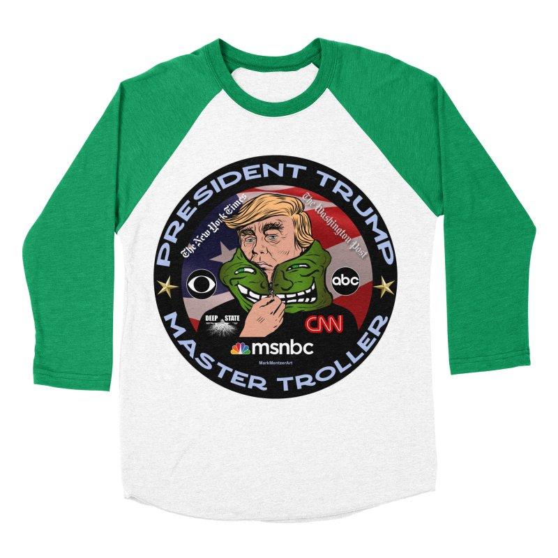 Donald Trump - Master Troller - Battling Fake News Men's Baseball Triblend Longsleeve T-Shirt by InspiredPsychedelics's Artist Shop
