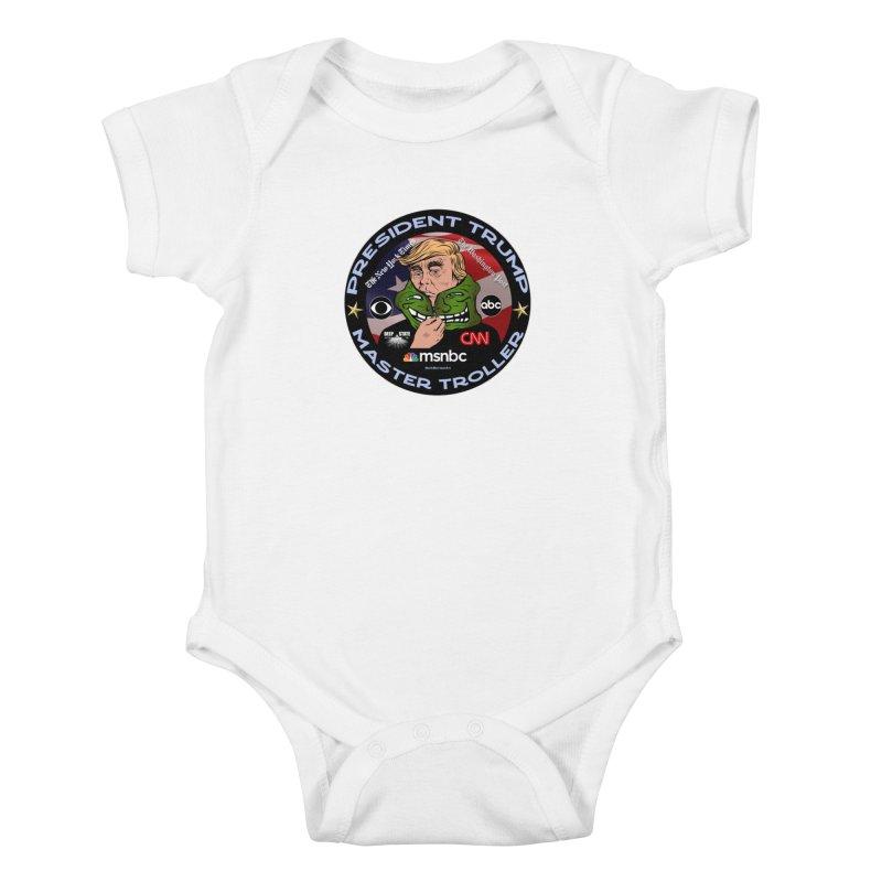 Donald Trump - Master Troller - Battling Fake News Kids Baby Bodysuit by InspiredPsychedelics's Artist Shop