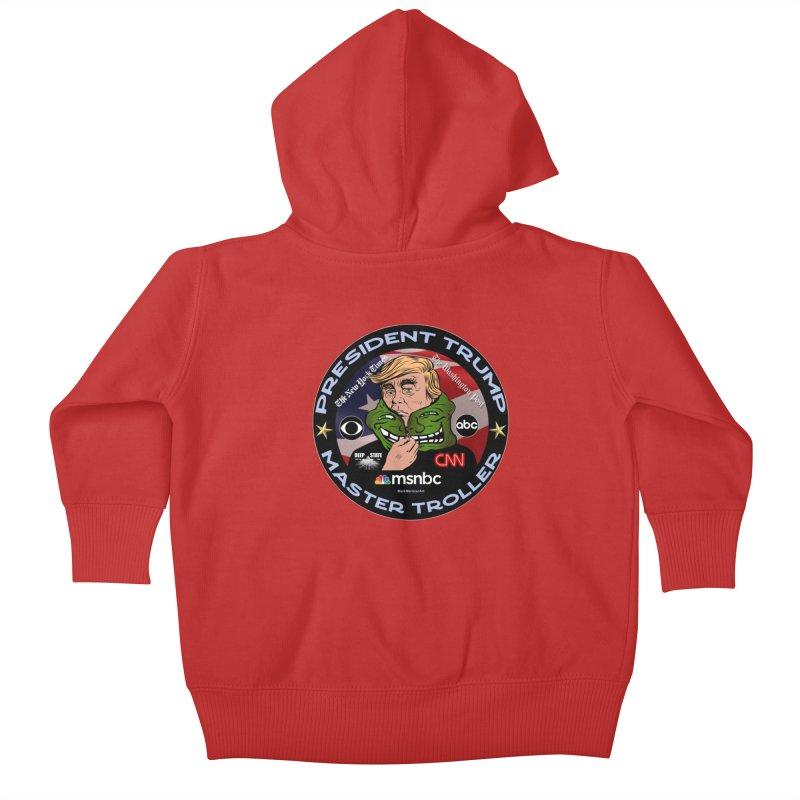 Donald Trump - Master Troller - Battling Fake News Kids Baby Zip-Up Hoody by InspiredPsychedelics's Artist Shop