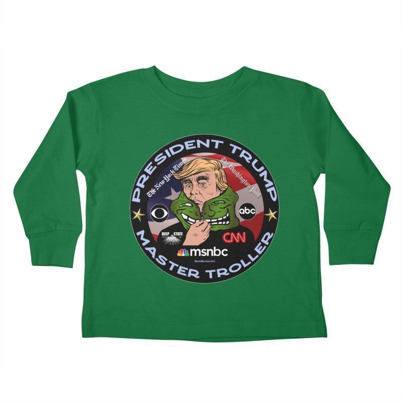 Donald Trump - Master Troller - Battling Fake News Kids Toddler Longsleeve T-Shirt by InspiredPsychedelics's Artist Shop