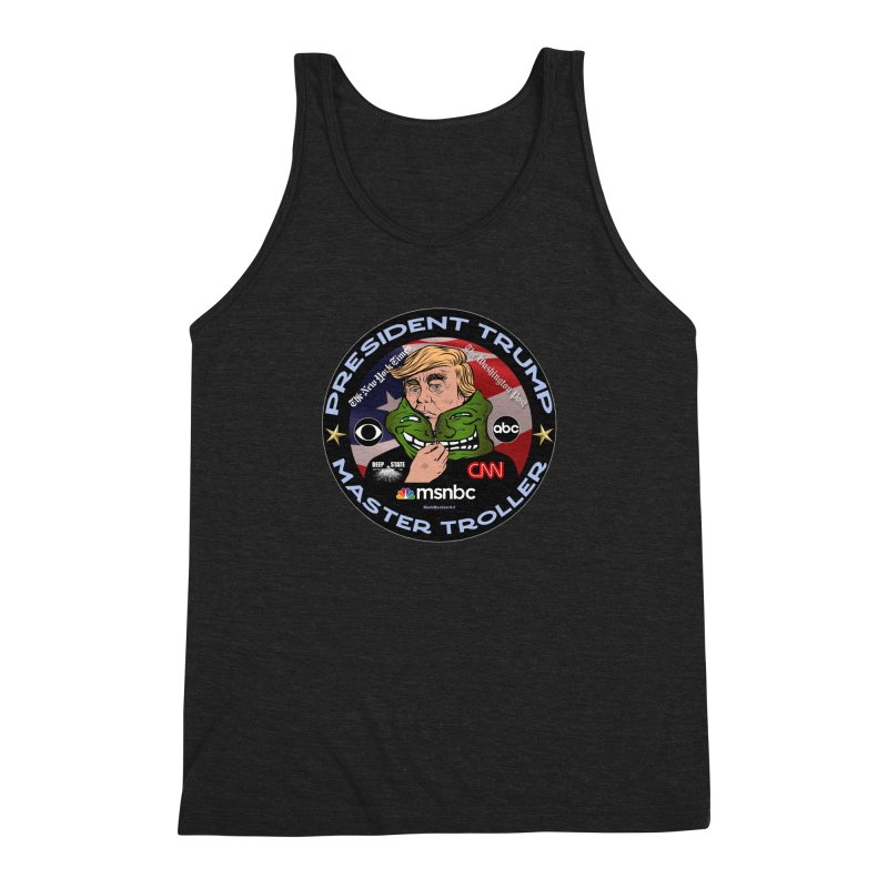 Donald Trump - Master Troller - Battling Fake News Men's Triblend Tank by InspiredPsychedelics's Artist Shop