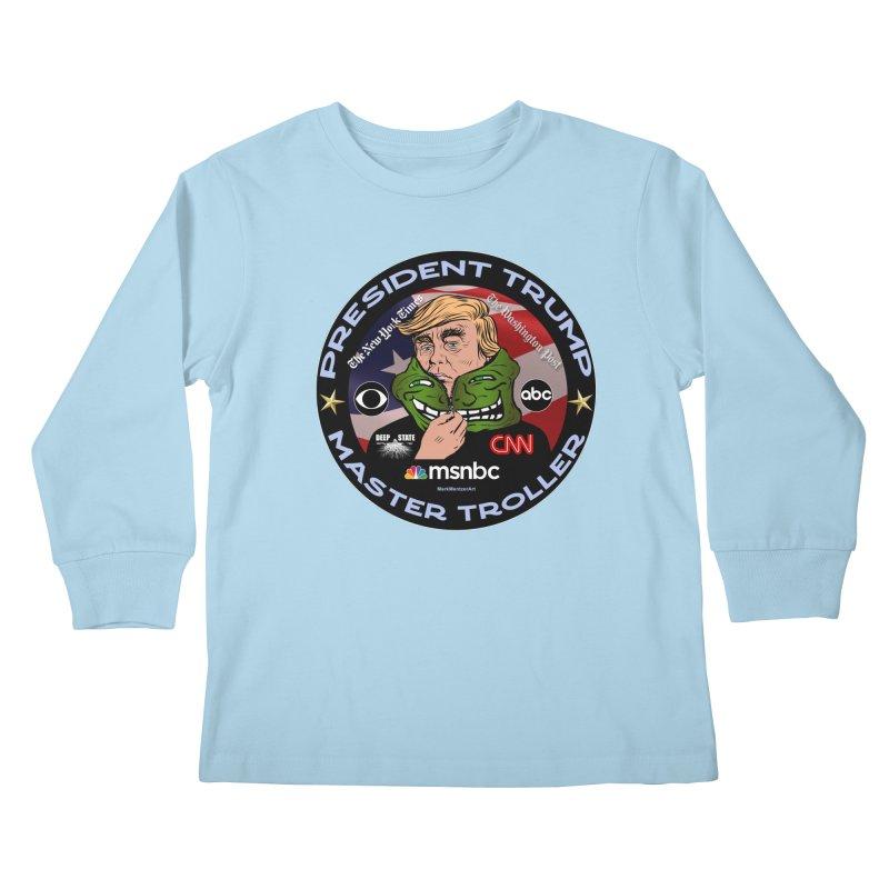 Donald Trump - Master Troller - Battling Fake News Kids Longsleeve T-Shirt by InspiredPsychedelics's Artist Shop