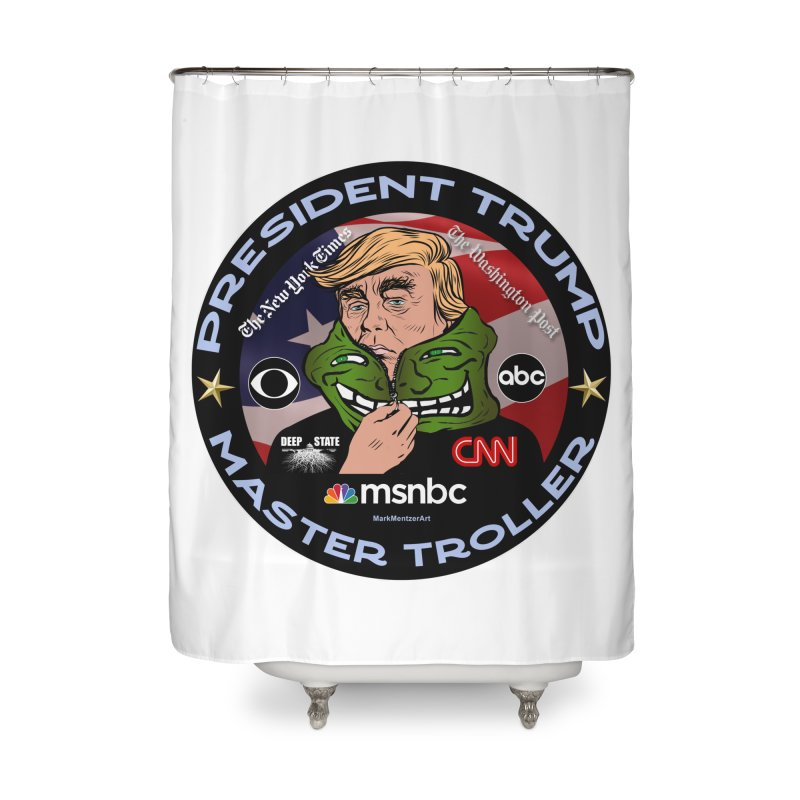Donald Trump - Master Troller - Battling Fake News Home Shower Curtain by InspiredPsychedelics's Artist Shop