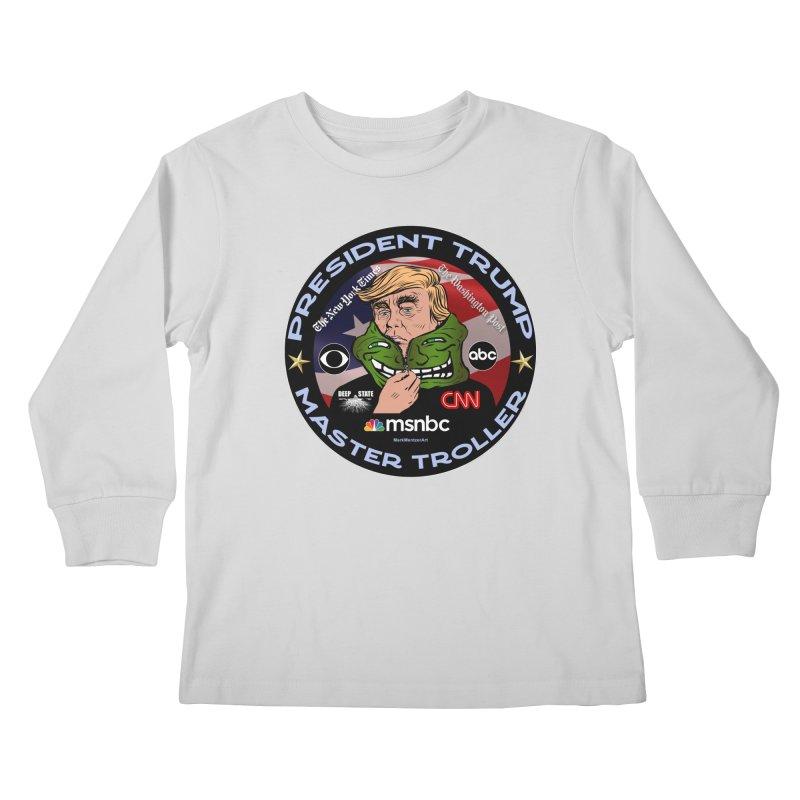 President Trump - Master Troller (2019) Kids Longsleeve T-Shirt by InspiredPsychedelics's Artist Shop