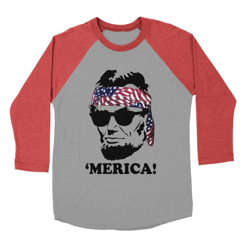 f7248a44 Funny Abe Lincoln 'Merica Shirt: Patriotic, Hip, & American! Men's Baseball