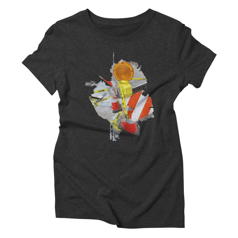Caution Women's Triblend T-Shirt by Irresponsible People Black T-Shirts