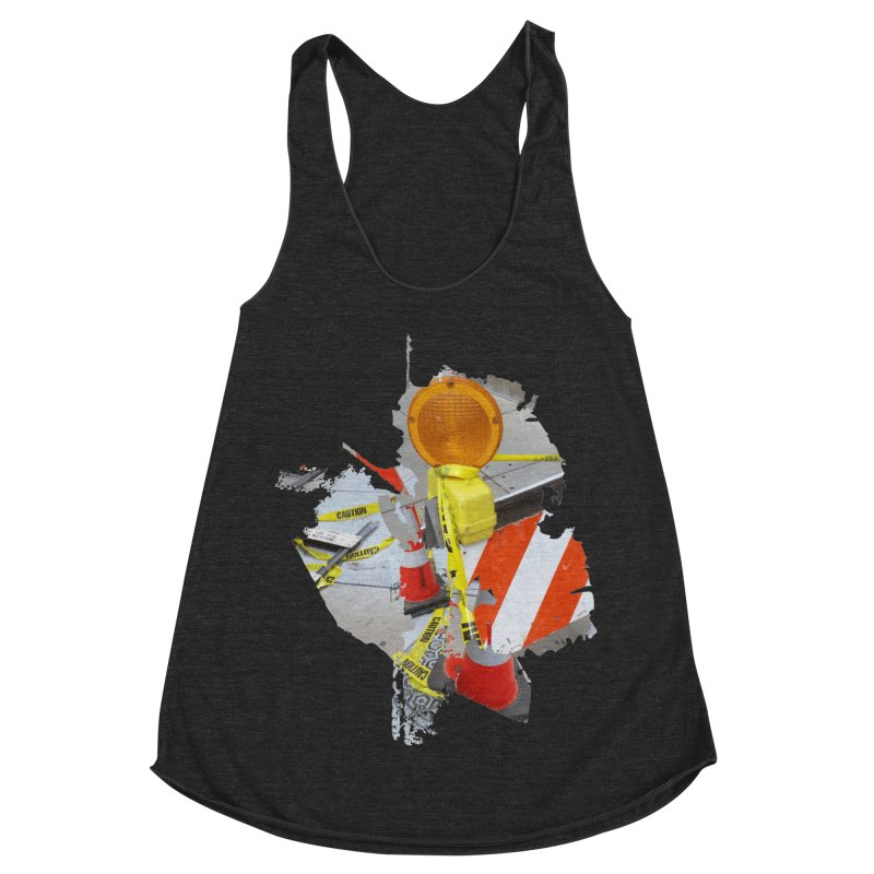 Caution Women's Racerback Triblend Tank by Irresponsible People Black T-Shirts
