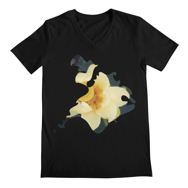 The Thousand Petals Men's Regular V-Neck by Irresponsible People Black T-Shirts
