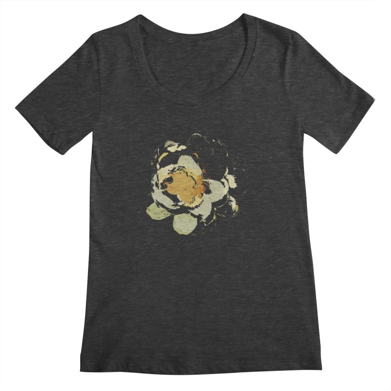 Lotus Slips Sideways Through Time Women's Scoopneck by Irresponsible People Black T-Shirts