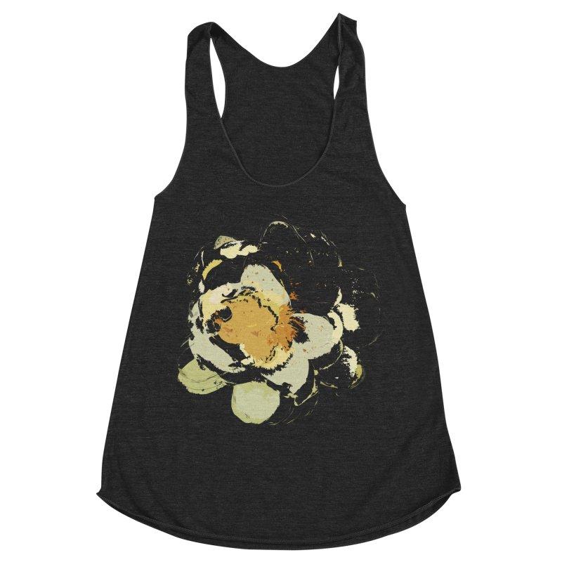 Lotus Slips Sideways Through Time Women's Racerback Triblend Tank by Irresponsible People Black T-Shirts