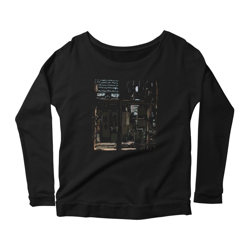 Tech Room Women's Longsleeve Scoopneck  by Irresponsible People Black T-Shirts
