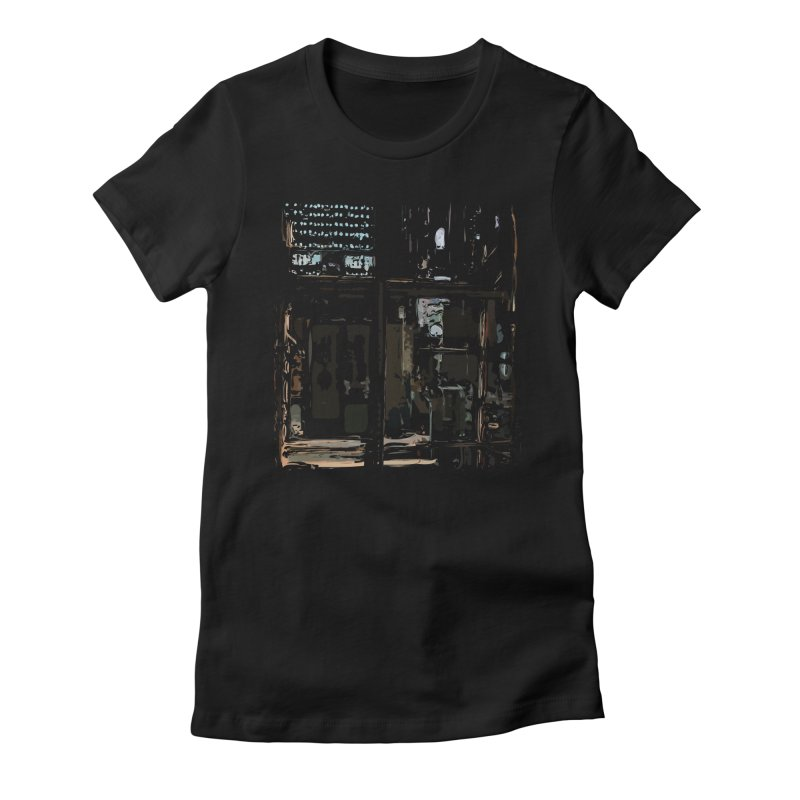 Tech Room Women's Fitted T-Shirt by Irresponsible People Black T-Shirts