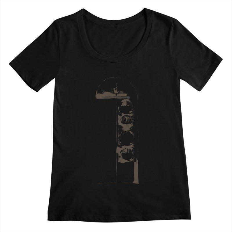 Door of Reception Women's Scoopneck by Irresponsible People Black T-Shirts