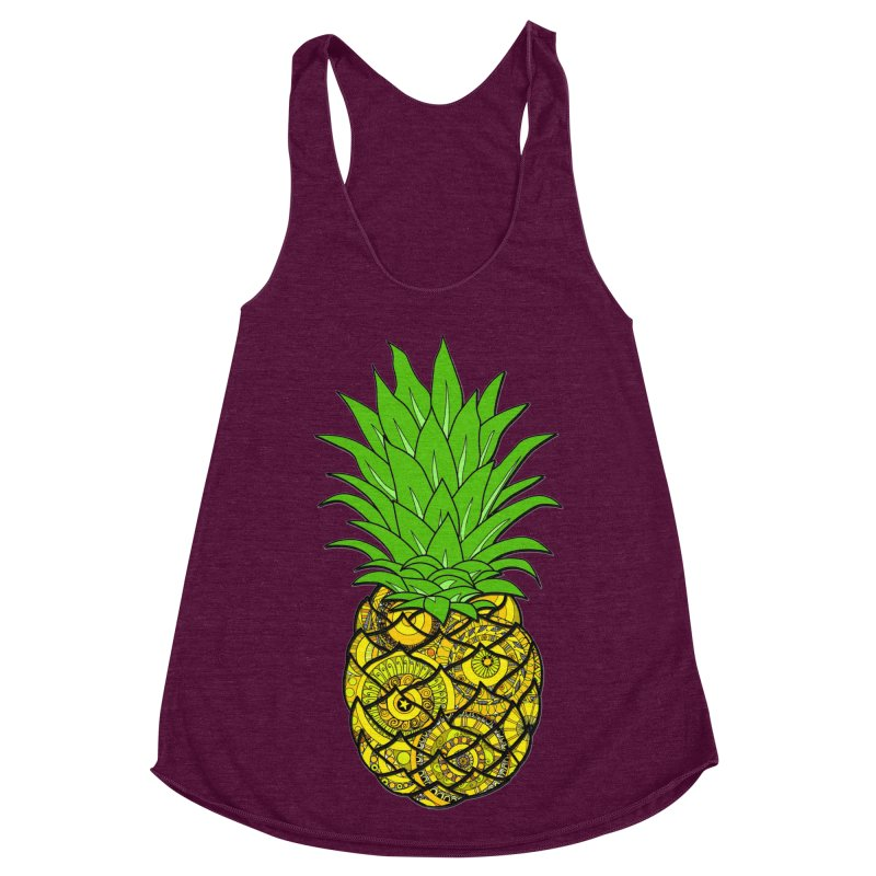 Ananamania! in Women's Racerback Triblend Tank Tri-Cranberry by Izfromearth's Artist Shop