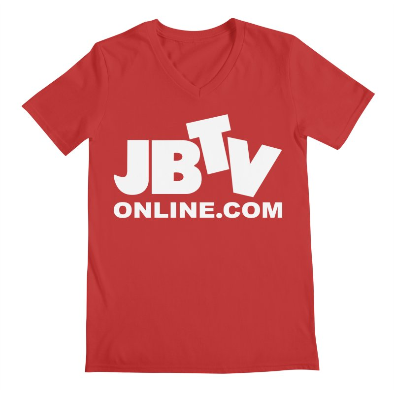 JBTV White Logo Men's V-Neck by JBTV's Artist Shop