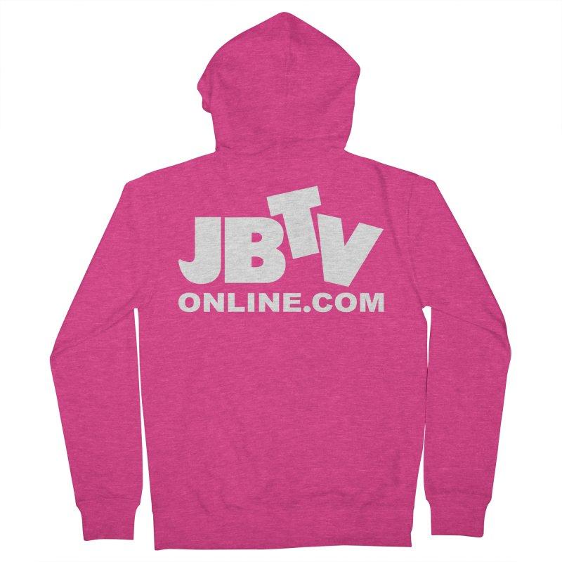 JBTV White Logo Women's French Terry Zip-Up Hoody by JBTV's Artist Shop