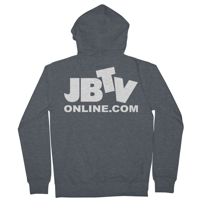 JBTV White Logo Men's French Terry Zip-Up Hoody by JBTV's Artist Shop